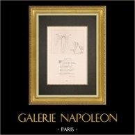 Divine Comédie - Dante - Le Purgatoire - Canto X - L'accueil de l'Ange - Salutation | Gravure sur cuivre originale gravée par Flaxman. 1867