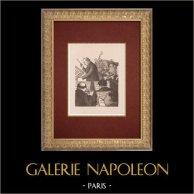 Moulin Rouge - Cabaret Parisien - Montmartre - Années Folles - L'Orchestre | Lithographie originale dessinée par Van Houten. 1925