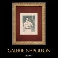 Moulin Rouge - Cabaret Parisien - Montmartre - Années Folles - Les Pochettes Surprises | Lithographie originale dessinée par Van Houten. 1925