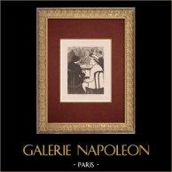 Moulin Rouge - Cabaret Parisien - Montmartre - Années Folles - Criqui | Lithographie originale dessinée par Van Houten. 1925