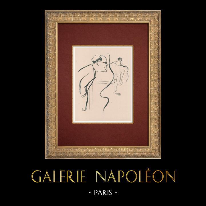 Gravures Anciennes & Dessins   Moulin Rouge - Cabaret Parisien - Montmartre - Années Folles - Le Régisseur   Lithographie   1925