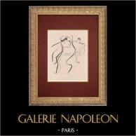 Moulin Rouge - Cabaret Parisien - Montmartre - Années Folles - Le Régisseur | Lithographie originale dessinée par Van Houten. 1925