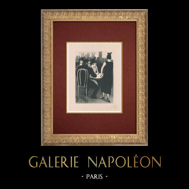 Gravures Anciennes & Dessins   Moulin Rouge - Cabaret Parisien - Montmartre - Années Folles - Les Familiers   Lithographie   1925