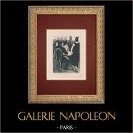 Moulin Rouge - Cabaret Parisien - Montmartre - Années Folles - Les Familiers | Lithographie originale dessinée par Van Houten. 1925