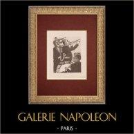 Moulin Rouge - Cabaret Parisien - Montmartre - Années Folles - Jazz-Band | Lithographie originale dessinée par Van Houten. 1925