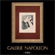 Moulin Rouge - Cabaret Parisien - Montmartre - Années Folles - Des Gens Convenables   Lithographie originale dessinée par Van Houten. 1925