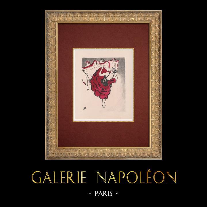 Gravures Anciennes & Dessins   Moulin Rouge - Cabaret Parisien - Montmartre - Années Folles - Le Quadrille   Lithographie   1925