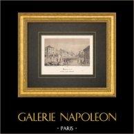Vy över Neuilly-sur-Seine i 19. Århundrade