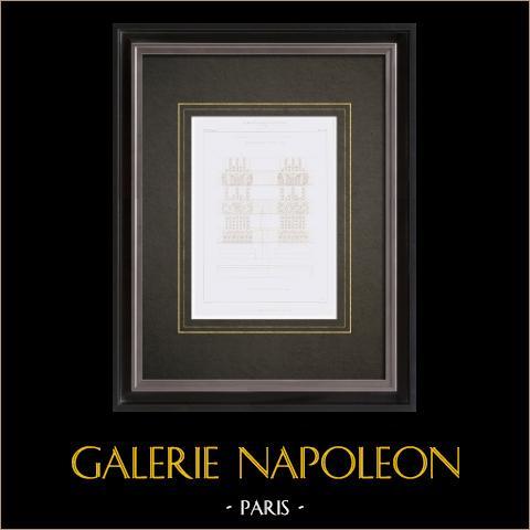 Disegno di Architetto - Museo imperiale del Louvre - Parigi - Francia | Stampa calcografica originale a bulino su acciaio disegnata da Leblan, incisa da Hibon. 1855