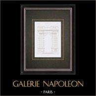 Disegno di Architetto - Palazzo del Louvre - Galerie d'Apollon - Pierre Chambiges (Parigi)