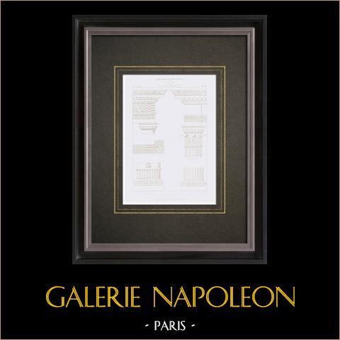 Dessin d'Architecte - Musée du Louvre - Salle des Cariatides - Jean Goujon - XVIème Siècle | Gravure originale en taille-douce sur acier dessinée par Leblan, gravée par Hibon. 1855