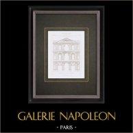 Dessin d'Architecte - Palais du Louvre - Cour du Louvre - Pavillon - Paris (France)