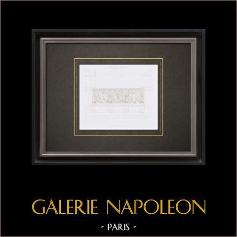 Desenho de Arquitecto - Palácio do Louvre - Pavillon d'Apollon - Balcão de Carlos IX de França (Paris) | Gravura original em talho-doce sobre aço desenhada por Leblan, gravada por Huguet. 1855