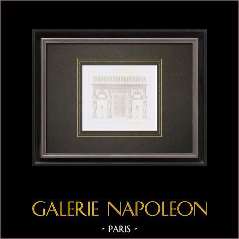 Desenho de Arquitecto - Paris - Palácio do Louvre - Cariátides (Jean Goujon) | Gravura original em talho-doce sobre aço desenhada por Leblan, gravada por Hibon. 1856