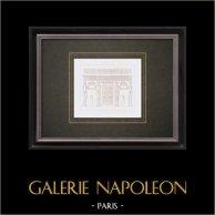 Dessin d'Architecte - Paris - Palais du Louvre - Salle des Caryatides (Jean Goujon)   Gravure originale en taille-douce sur acier dessinée par Leblan, gravée par Hibon. 1856