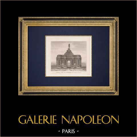 Triumphal arch - Place du Trône - Paris (France) | Original mezzotint print. Anonymous. 1822