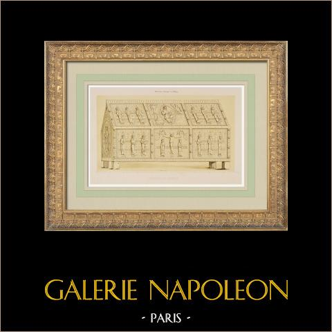 Caja de las Reliquias de Santo Calmin en Mozac - Puy-de-Dôme (Francia) | Litografía original dibujado por Tudot, litografiado por Champagnal. 1843