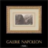 Paysage de montagne - Guil - Mont Dauphin - Queyras - Hautes-Alpes (France) | Gravure originale en taille-douce sur acier dessinée par Bartlett, gravée par Varrall. 1836