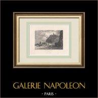 Vue d'Italie - Baie de Naples - Oasi Persano | Gravure originale en taille-douce sur acier dessinée par Harding, gravée par Smith. 1837