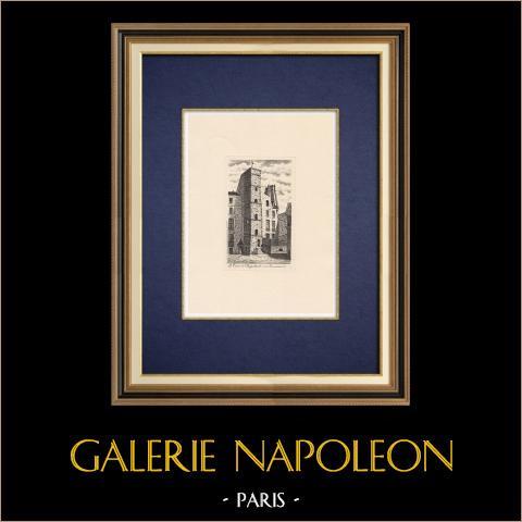 Denkmäler von Paris - Turm - Tour de Dagobert - Île de la Cité - Zerstörte (Frankreich) | Original ätzradierung. Anonym. 1910