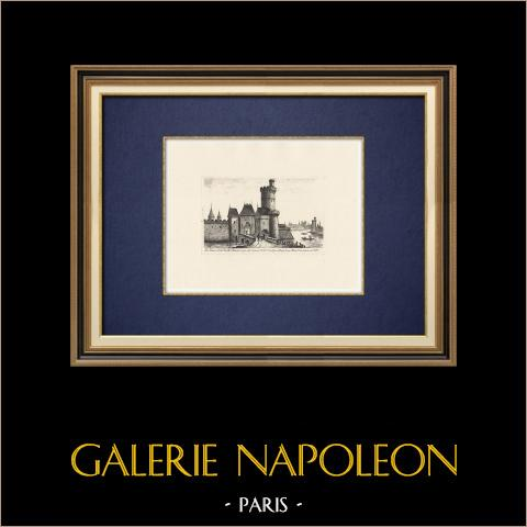 Ansicht von Paris - Tour du bois - Porte Neuve - Louvre-Palast - Seine (Frankreich) | Original ätzradierung. Anonym. 1910