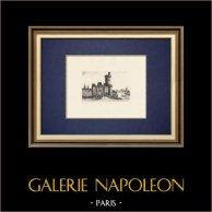 View of Paris - Tour du bois - Porte Neuve - Louvre - Seine River (France) | Original strong water etching. Anonymous. 1910
