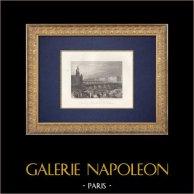 Veduta di Parigi - Île de la Cité - Marché aux fleurs - Senna - Pont au Change (Francia) | Stampa calcografica originale a bulino su acciaio disegnata da Turner, incisa da Radclyffe. 1853