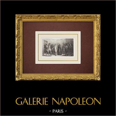 Franse Revolutie - Lodewijk XVI Verlaat de Gevangenis van de Tempel - Guillotine (1793) |
