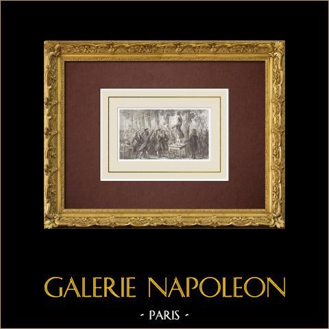 Franse Revolutie - Camille Desmoulins in Palais Royal (1789) |
