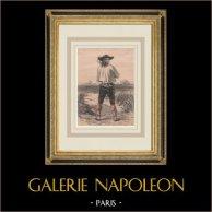 Costumes Régionaux Français - Bretagne - Homme de Le Faouët | Lithographie originale dessinée par Lalaisse, lithographiée par Lalaisse. Rousseurs dans les marges. 1848