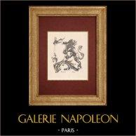 Horlogerie - Décorations - Gravures de Montres - Lion - A. Laboue | Gravure à l'eau-forte originale dessinée par A. Laboue. 1890
