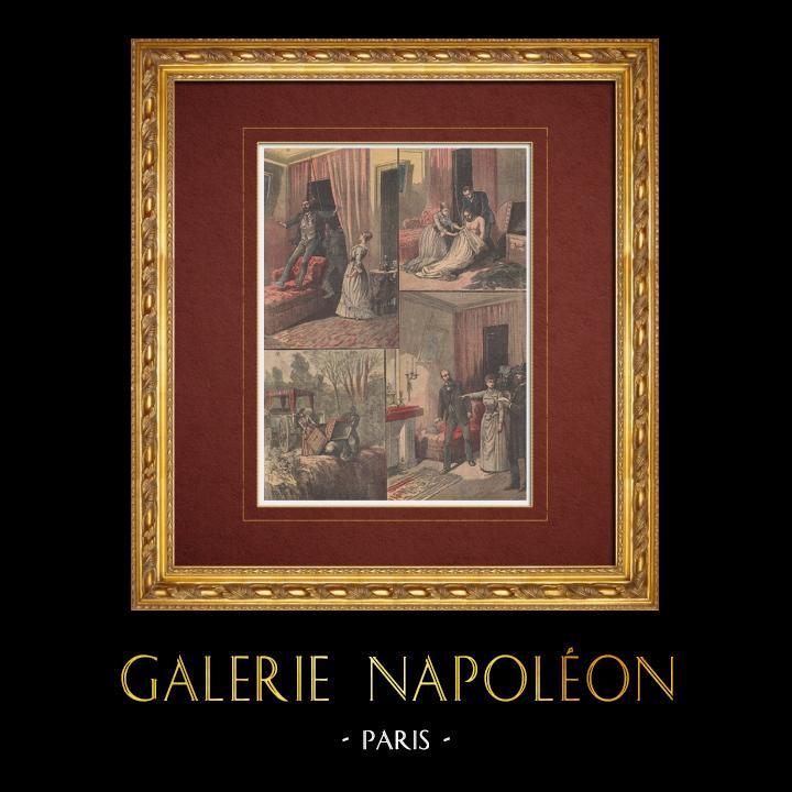Gravures Anciennes & Dessins | Affaire Gouffé - Le Meurtre - Malle sanglante de Millery (1889) | Gravure sur bois | 1890