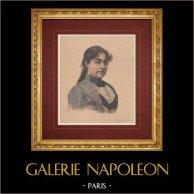 Portrait de Nathalie de Serbie (1859-1941) | Gravure sur bois imprimée en chromotypographie dessinée par Meyer, gravée par Meaulle. Texte au verso. 1891