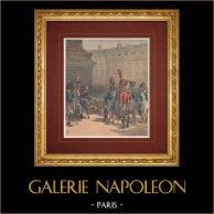 Napoleon I. - Helenamedaille - Letzte Soldaten des Imperiums - Napoléon III. | Original holzstich in chromotypographie gezeichnet von Meyer, gestochen von Meaulle. Text auf der rückseite. 1891