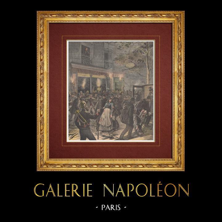 Gravures Anciennes & Dessins | Ravachol - Anarchiste français - Explosion dans le restaurant Very - 19ème Siècle | Gravure sur bois | 1892