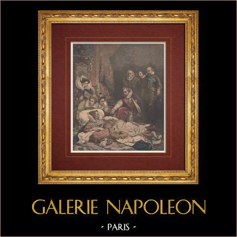 Französische malerei - Tod von Elisabeth I. (Paul Delaroche) | Original holzstich in chromotypographie nach Delaroche. Text auf der rückseite. 1892