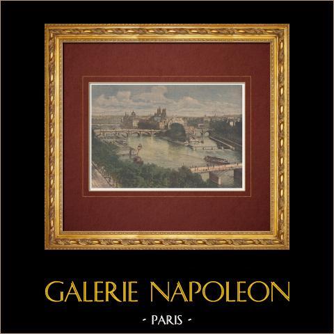 Vista de Paris - Puente - Pont Saint-Michel - Sena - Isla de la Cité - Siglo 19 | Grabado xilográfico original impreso en cromotipografia grabado por Meaulle. Reverso impreso. 1892