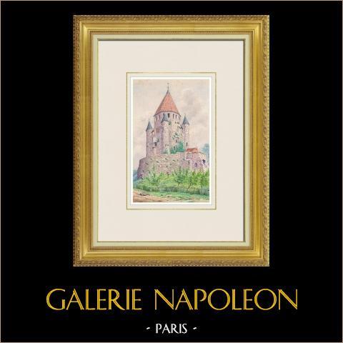 Ansicht von Provins - Tour César - Turm - Seine-et-Marne (Frankreich)  | Original aquarell auf Papier. Anonym. 1880