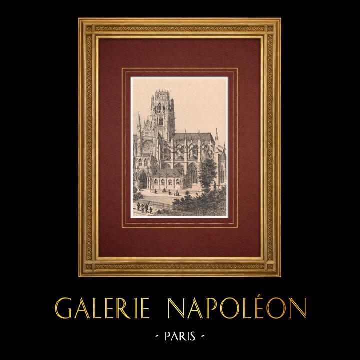 Gravures Anciennes & Dessins | Eglise Abbatiale de Saint Ouen à Rouen (France) | Gravure à l'eau-forte | 1884