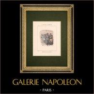 Commune de Paris - Perquisition dans une imprimerie | Gravure sur bois originale dessinée par Bertall. Coloriée au pochoir. 1880