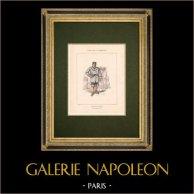 Comune di Parigi - Ufficiale della Marina | Incisione xilografica originale disegnata da Bertall. Colorata a pochoir. 1880