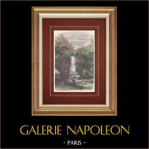 Cascata do Druise - Desfiladeiros do Omblèze (França) | Xilogravura original desenhada por Karl Girardet, gravada por Lavieille. Aquarelada a mão. 1860