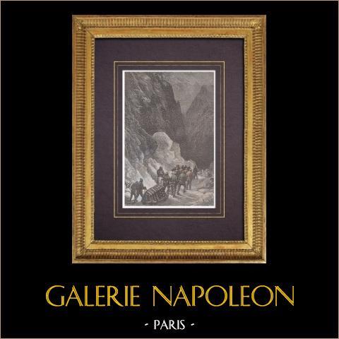 Polo nord - Spedizione Polaris - I - Sepoltura del Capitano Hall | Incisione xilografica originale disegnata da Riou, incisa da Sargent. Acquerellata a mano. 1875