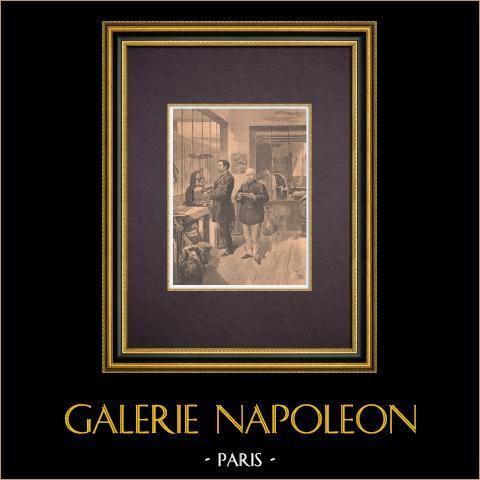 Señores A. Dupré y Ch. Girard en el Laboratorio Municipal de París - 1894 | Grabado xilográfico original impreso en cromotipografia grabado por Tofani. Reverso impreso. 1894