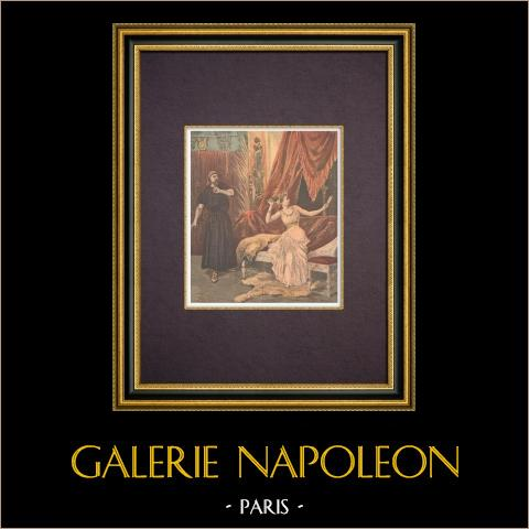 Spektakel - Thaïs - Jules Massenet - Paris Operahus - Opéra Garnier - 1894 | Original träsnitt tryckt i kromotypografi graverade av Tofani. Text på baksidan. 1894