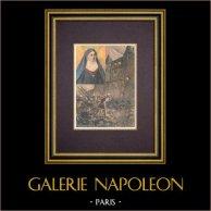 Juliette du Guesclin, freira - Castelo de Pontorson - Idade Média | Xilogravura original impressa em cromotipografia gravada por Tofani. Reverso impresso. 1894