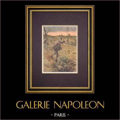 Caza furtiva en los alrededores de París - 1894 | Grabado xilográfico original impreso en cromotipografia. Anónimo. Reverso impreso. 1894