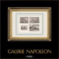 Porte de la Conférence - Porte Neuve - Pompe à feu de Chaillot - Couvent des Feuillants - Paris | Original mezzotint print. Anonymous. 1808