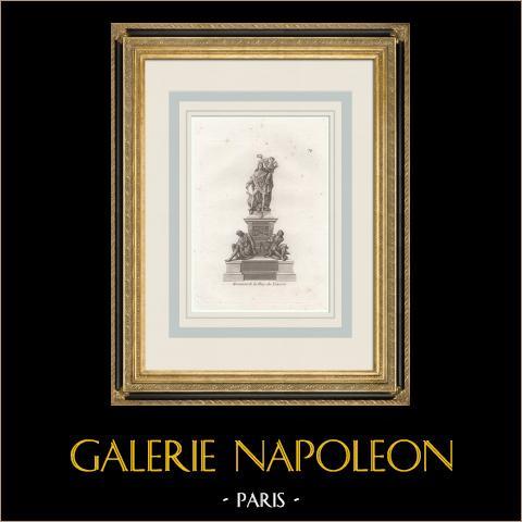 Place des Victoires en 1686 - Estatua de Luis XIV - Paris (Francia) | Grabado a la manera negra original. Anónimo. 1808