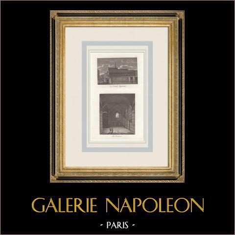 Palais des Thermes de Cluny - Termas Romanas - Convento - Grands-Augustins - Paris (França) | Gravura original em maneira negra. Anónima. 1808